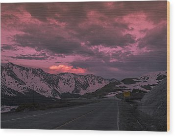 Loveland Pass Sunset Wood Print by Michael J Bauer