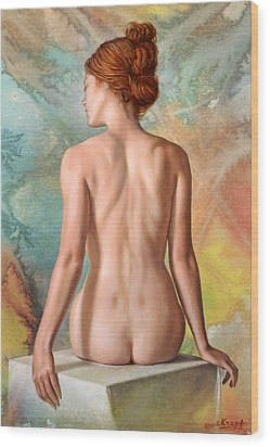 Lovely Back-becca In Abstract Wood Print by Paul Krapf