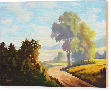 Wood Print featuring the painting Lovely Day by Anthony Mwangi