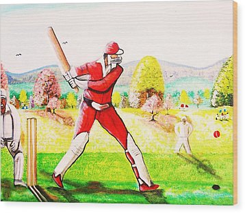 Lovely Day For Cricket. Wood Print by Roejae Baptiste