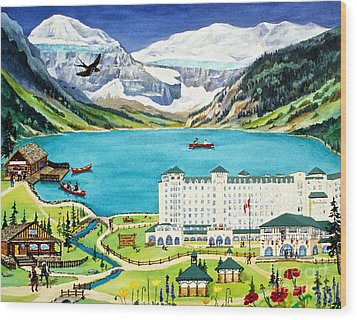 Lovely Lake Louise Wood Print by Virginia Ann Hemingson