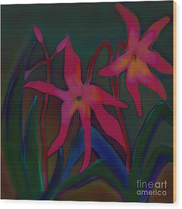 Wood Print featuring the digital art Lovely Lilies by Latha Gokuldas Panicker