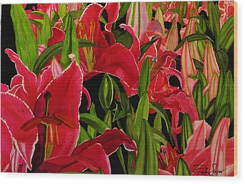 Wood Print featuring the painting Lovely Lillies by Debi Singer