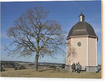 Lovely Little Chapel And A Tree Wood Print by Matthias Hauser
