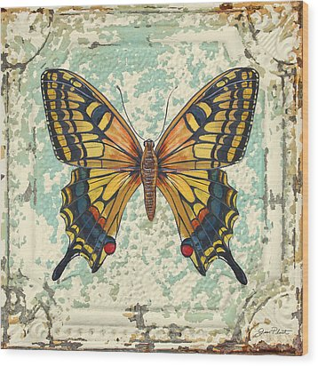 Lovely Yellow Butterfly On Tin Tile Wood Print by Jean Plout