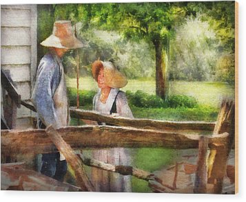 Lover - The Courtship Wood Print by Mike Savad