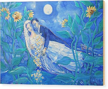 Lovers And Sunflowers  After Marc Chagall  Wood Print