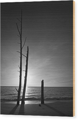 Lovers Key Sunset Black And White One Wood Print