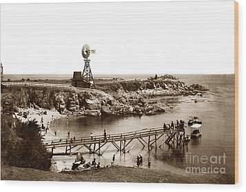 Lovers Point Beach And Old Wooden Pier Pacific Grove August 18 1900 Wood Print