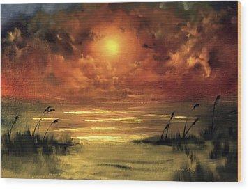 Lovers Sunset Wood Print
