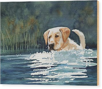 Loves The Water Wood Print by Marilyn Jacobson