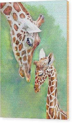 Loving Mother Giraffe2 Wood Print by Jane Schnetlage
