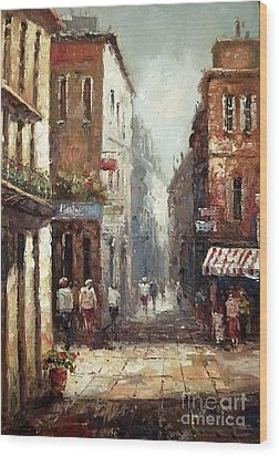 Loving Narrow Streets Wood Print by AmaS Art