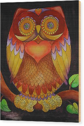 Loving Owl Wood Print by Lou Cicardo
