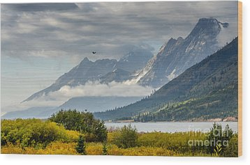 Low Clouds On The Teton Mountains Wood Print by Debra Martz