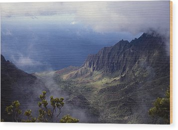 Low Clouds Over A Na Pali Coast Valley Wood Print by Stuart Litoff