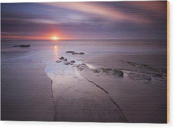 Low Tide At Glyne Gap Wood Print by Mark Leader