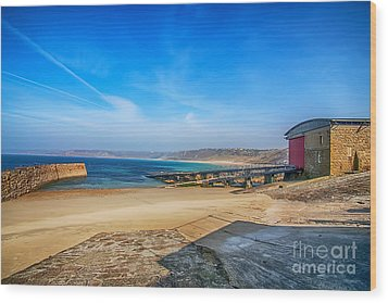 Low Tide At Sennen Cove 2 Wood Print by Chris Thaxter