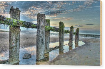 Low Tide Groynes Wood Print