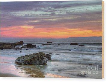 Low Tide In Newport Beach Wood Print by Eddie Yerkish