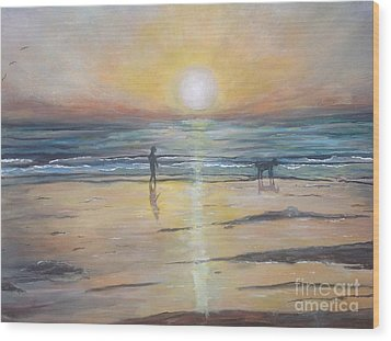 Low Tide Sunset. Southern California  Wood Print by Linea App