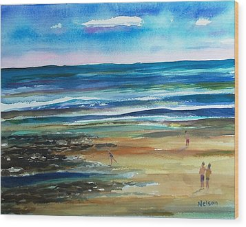 Low Tide Wells Beach Maine Wood Print by Scott Nelson