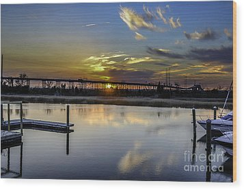 Lowcountry Marina Sunset Wood Print