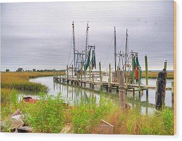 Lowcountry Shrimp Dock Wood Print by Scott Hansen