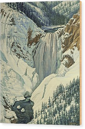 Lower Falls-april Wood Print by Paul Krapf