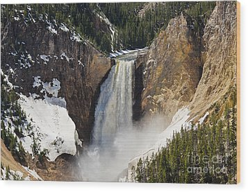 Wood Print featuring the photograph Lower Falls Of The Yellowstone by Sue Smith