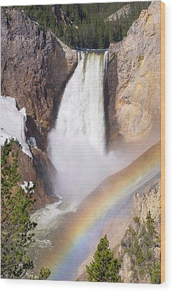 Wood Print featuring the photograph Lower Falls With Rainbow - Yellowstone National Park by Aaron Spong