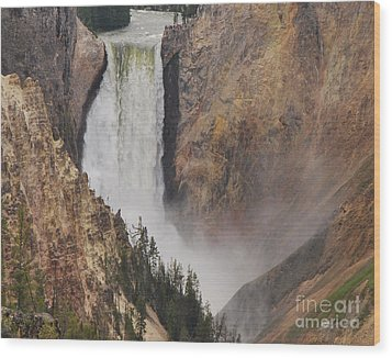 Lower Falls - Yellowstone Wood Print by Mary Carol Story