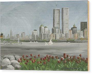 Lower Manhattan 1992 Wood Print by Susan Richardson