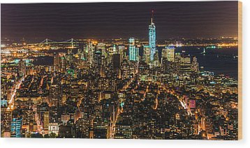 Wood Print featuring the photograph Lower Manhattan At Night 2 by Chris McKenna