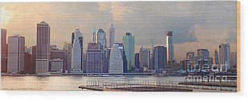 Lower Manhattan Panorama From Brooklyn Wood Print by Thomas Marchessault
