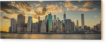 Wood Print featuring the photograph Lower Manhattan Sunset 3-1 by Chris McKenna