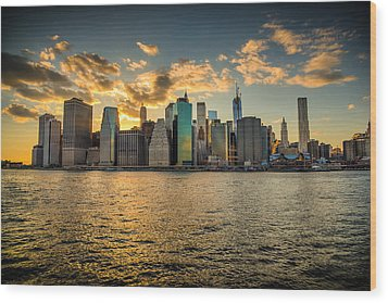 Wood Print featuring the photograph Lower Manhattan Sunset by Chris McKenna