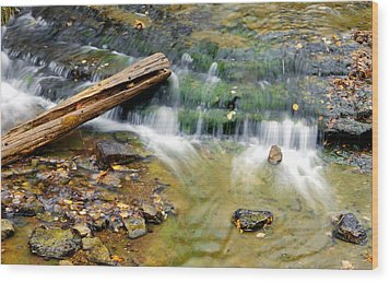Lower Part Of Au Train Falls Wood Print by Optical Playground By MP Ray