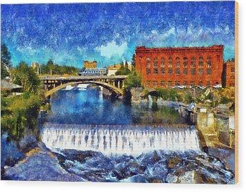 Lower Spokane Falls Wood Print by Kaylee Mason