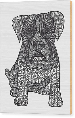 Loyalty- Boxer Dog Wood Print by Dianne Ferrer