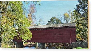 Loy's Station Covered Bridge Wood Print by Cathy Shiflett