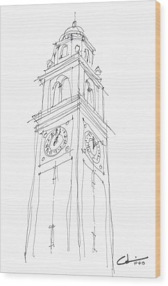 Wood Print featuring the drawing Lsu Bell Tower Study by Calvin Durham