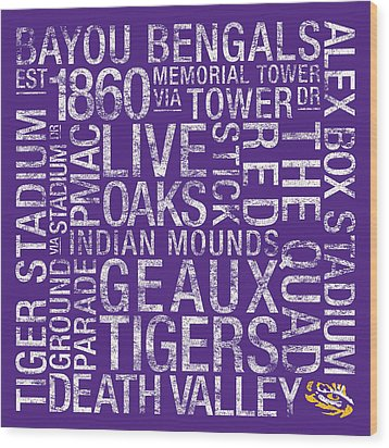 Lsu College Colors Subway Art Wood Print by Replay Photos