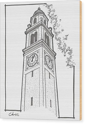 Wood Print featuring the drawing Lsu Memorial Bell Tower by Calvin Durham