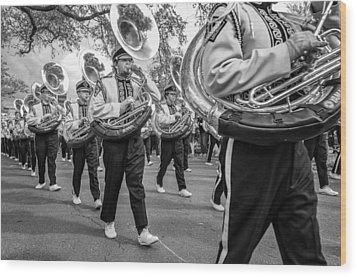 Lsu Tigers Band Monochrome Wood Print by Steve Harrington