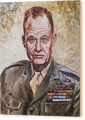 Lt Gen Lewis Puller Wood Print by Mountain Dreams