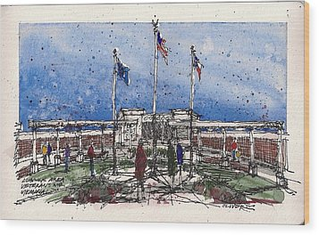 Wood Print featuring the mixed media Lubbock Area Veterans War Memorial by Tim Oliver