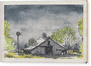 Wood Print featuring the mixed media Lubbock County Barn by Tim Oliver