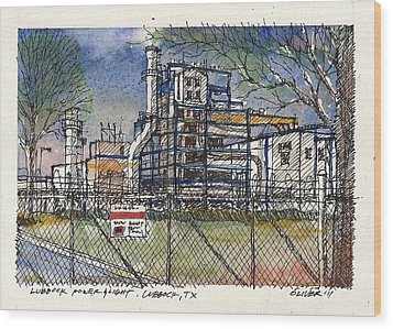 Wood Print featuring the mixed media Lubbock Power And Light by Tim Oliver