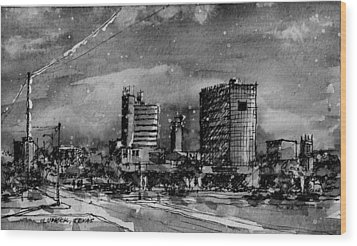Lubbock Texas Skyline Bw Wood Print